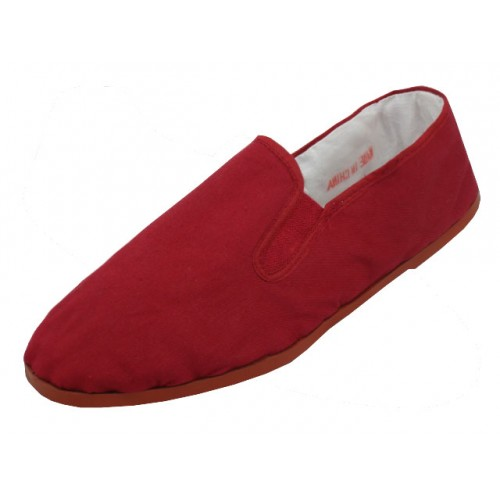 Men's Slip On Twin Gore Cotton Upper With Rubber Out Sole Kung Fu SHOES ( Maroon Color )