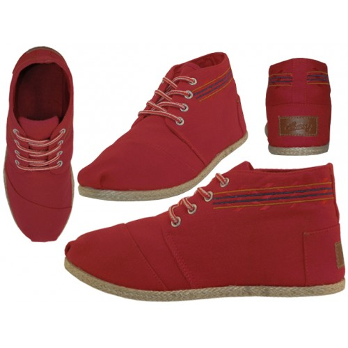 ''Women's ''''EasyUSA'''' Hi-Top Canvas SHOES ( Red Color )''