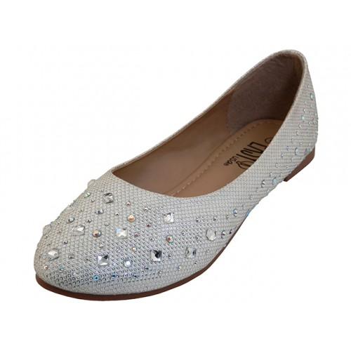 女士的EasyUSA水钻芭蕾平底鞋银色