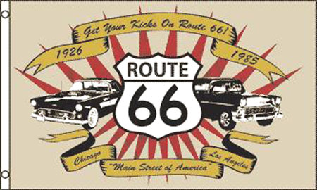 CLASSIC CARS ROUTE 66 3' X 5' FLAG (Sold by the piece) #FL453