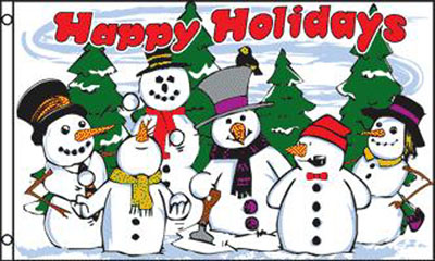 HAPPY HOLIDAY SNOWMEN 3 X 5 FLAG (Sold by the piece) #FL514