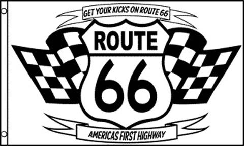 ROUTE 66 BLACK AND WHITE 3 X 5 FLAG ( sold by the piece ) #FL677