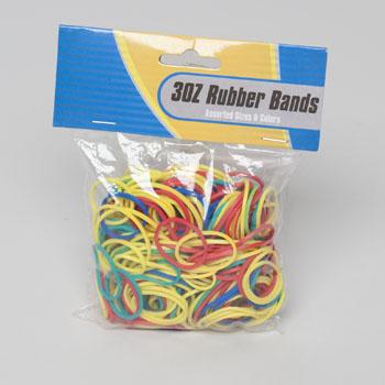 RUBBER BANDS 3OZ BAG ASST SIZES COLORS STAT PBH #G02022