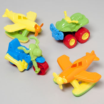 SAND VEHICLE TOYS PLSTC 3ASST PLANE/CYCLE/4RUNNER IN 12PC PDQ #G18154