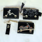 TRIFOLD LEATHER WALLETS WITH CHAIN (Sold by the piece) #GI064