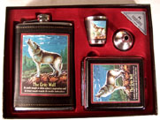 HOWLING WOLF FLASK SET W CIGARETTE CASK (Sold by the piece) #GI461