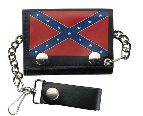 REBEL CONFEDERATE FLAG TRIFOLD LEATHER WALLETS WITH CHAIN (Sold by the piece) #GI524