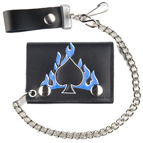 SPADES BLUE FLAMES TRIFOLD LEATHER WALLETS WITH CHAIN (Sold by the piece) #GI562