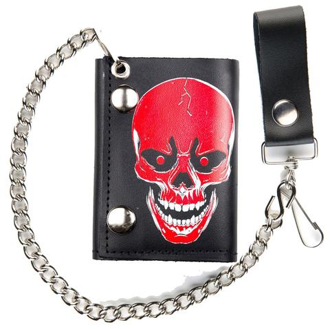 LARGE RED SKULL TRIFOLD LEATHER WALLETS WITH CHAIN (Sold by the piece) #GI563
