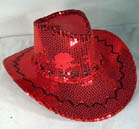 RED SEQUIN COWBOY HAT (Sold by the piece) #HT060