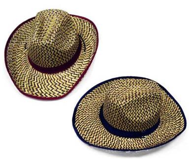 BROWN ZIG ZAG COWBOY STRAW HATS #HT111