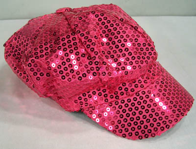 SEQUIN HOT PINK BASEBALL CAP (Sold by the piece) #HT125