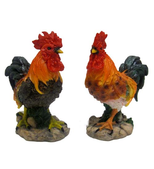 ''Ass. 2 Polyresin Rooster FIGURINE, 6in #IXRT-70624-36''