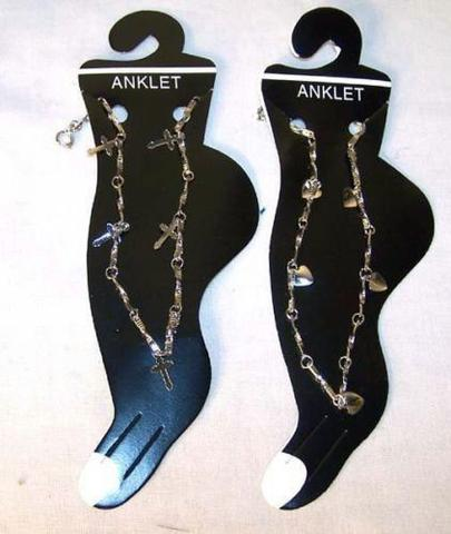 ASSORTTED DESIGNS LADIES SILVER CHAIN ANKLETS ( sold by the dozen ) #JL014