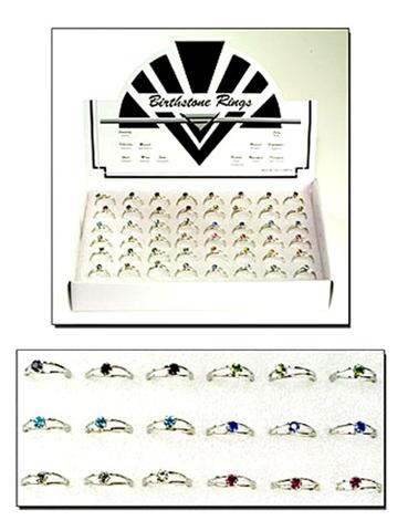 RHINESTONE CRYSTAL BIRTHSTONE RINGS ( sold by display of 48 rings) #JL531