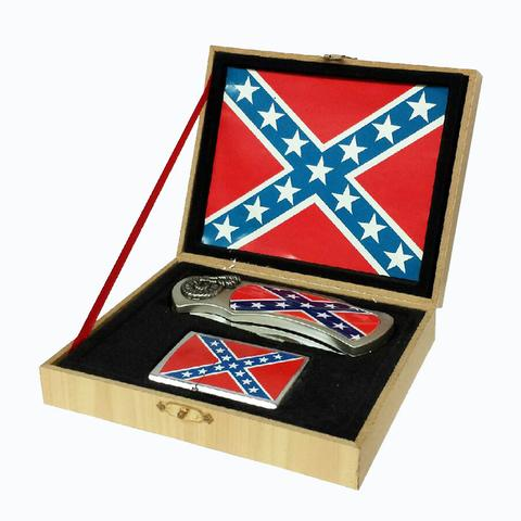 REBEL / CONFEDERATE FLAG WITH LIGHTER BOXED KNIFE (Sold by the piece) #KN442