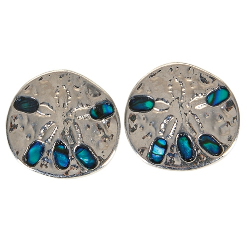 PAUA SAND DOLLAR STUD EARRINGS