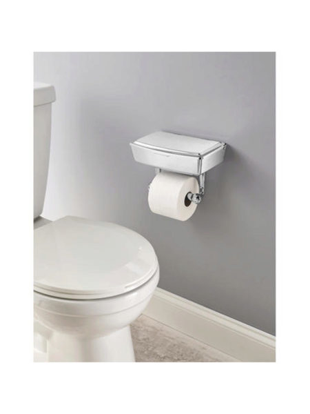 Delta Porter Chrome TOILET PAPER Holder with Storage Box