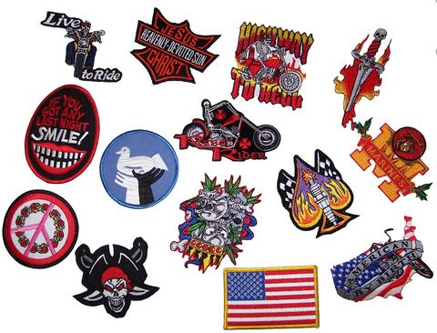 ASSORTED GRAB BAG NOVELTY / BIKER PATCHES (sold by the dozen ) #P679