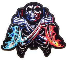 SKULL FLAME DAGGERS PATCH (Sold by the piece) #PA5660