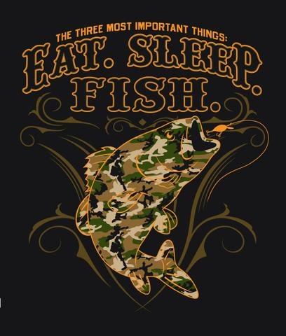EAT SLEEP FISH CAMO SHORT SLEEVE TEE SHIRT SIZE XXL ONLY (Sold by the piece) #T317