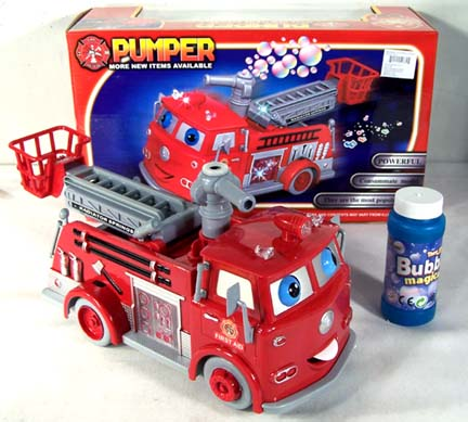HAPPY FACE BUBBLE BLOWING MOVING FIRE TRUCK (Sold by the piece) #TY301