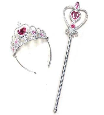 PRINCESS TIARA AND WAND SET WITH JEWELS (Sold by the piece) #TY312