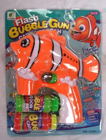 LIGHT UP CLOWN FISH BUBBLE GUN WITH SOUND (sold by the piece ) #TY367