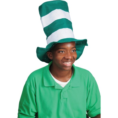 STOVE PIPE HAT/GREEN-WHITE #KD10-36