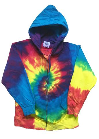 ZIP UP TRADITIONAL RAINBOW SWIRL TIE DYED ZIPPER HOODIE SWEAT SHIRT (sold by the piece ) #ZHD002