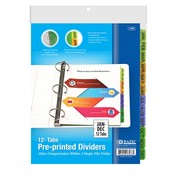 BAZIC 3-Ring Binder Dividers W/ 12-Preprinted Jan-Dec Tab